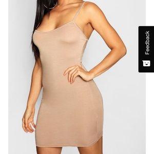 Basic Strappy Cami Bodycon Dress (Beige)